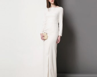 Off White Evening Dress/ Kate Middleton Ella Dress/ evening gown/ Custom made gown/ long sleeve gown/ white maxi dress/ Roland Mouret