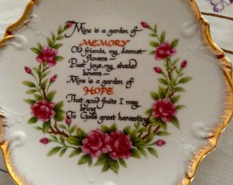 Vintage China Wall Plate Plaque, Memory Garden Verse, Gold edging, 8 inches