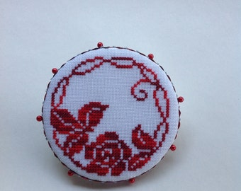 Hand stitched Red Floral cross stitched pin keep.