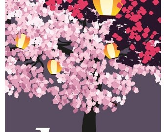 JAPAN. Yozakura, Night time Hanami, traditional Japanese custom of enjoying the beauty of flowers. Travel Poster