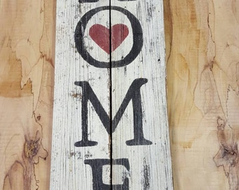 """Large rustic hand painted """"Home"""" with heart sign on reclaimed wood."""