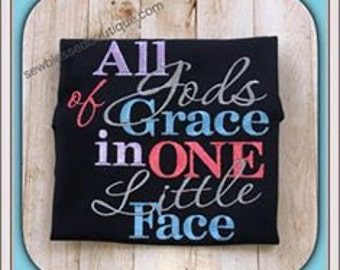 All of Gods Frace in one Little Face- Embroidered Shirt-Boys-Girls-Christian Apparel