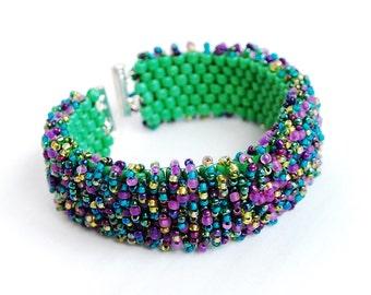 Loopy beadwork petite cuff bracelet