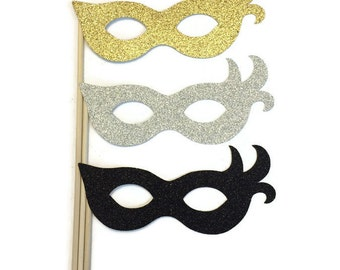 Masquerade Photo Booth Props- New Year Eve Props- 3 Piece Photo Booth Prop Set with Glitter
