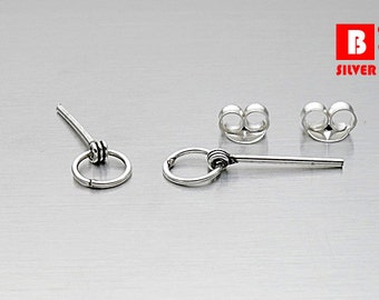 925 Sterling Silver Oxidatized Earrings, Stud Earrings (Code : K37C)