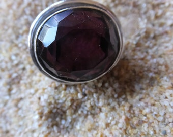 Faceted Amethyst and Sterling Silver Ring....... Size 6.5