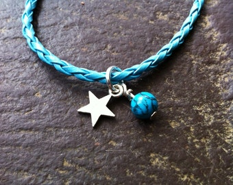 Thank you for being a Star plaited leather bracelet