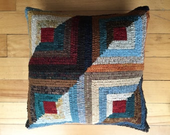 Snow-on-the-Windowpane hooked pillow
