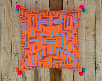 Tangerine pillow cover, embroidered, mola style pillows, standard size 16X16 inches