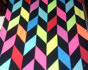 Rainbow Chevrons Fleece Throw Blanket