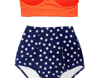 Orange Midkini Top and Navy Blue Polka dot Highwaisted High Waisted Waist High-Waist Bikini Swimsuit Swimwear Bathing suit suits S M L XL