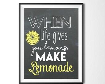 When Life Gives You Lemons Make Lemonade, Chalkboard Print, Kitchen Print, Motivational Quote, Lemon Decor, Home Decor, Digital Print