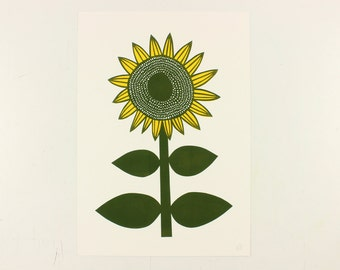 Retro style Sunflower Linocut print