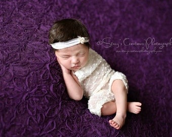Ivory Stretch Romper and Flower Tie Back, Photo Prop, Ivory Photo Prop, Romper, Newborn Photo Prop, Rhinestone Tie Back, Ivory Romper
