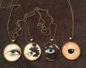 """Custom Original """"Lover's Eye"""" Cat Eye Miniature Portrait Necklaces (Of Your Cat or Any Other Loved One)."""