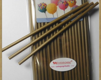 "Gold - 50pcs 6"" x 5/32"" Plastic  Lollipop Sticks for Cake Pops"