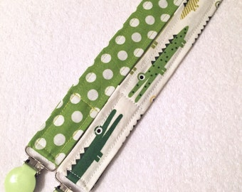 SET of (2) Pacifier clips: Alligator and polka dot- green and lime, binky clip, pacifier holder