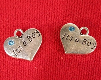 """BULK! 15pc """"It's a boy"""" charms in antique silver style (BC1048B)"""