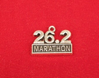 "5pc ""marathon"" charms in antique silver style (BC904)"