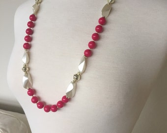Pink bead faux pearl Necklace