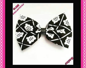 Black and white fabric bow