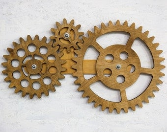 Mechanical Wall Art. Kinetic Wall Art Decor. Rotating Wooden Gears Wall  Decor Sculpture. Steampunk Wall Decor