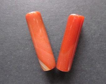2 tubes natural Carnelian 31-38 x 8-10mm