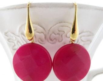 Hot pink jade earrings, golden sterling silver 925 earrings, gemstone earrings, dangle earrings, stone jewelry, classic earrings, gioielli