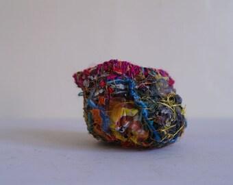 Experimental Vessel, Fibre Art Bowl, Textile Vessel, Textile Art  - Autumn