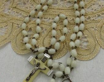 Vintage Rosary Bead Strand Crucifix Italy