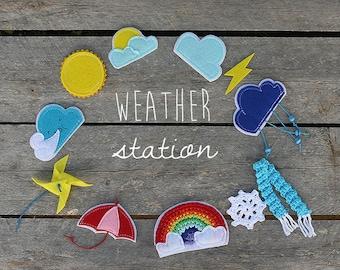 Felt weather station, Magnetic weather set, Preschool Home school