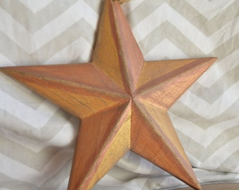 hand painted wood star
