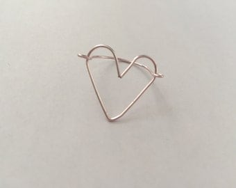 Light Pink Heart Shape Wire Ring