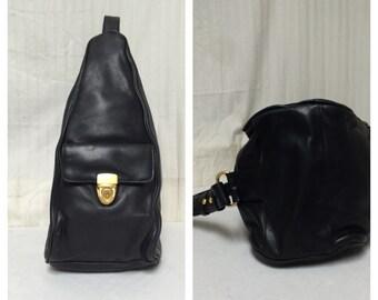 Lorelli , sling bag,black leather, sling ,shoulder bag