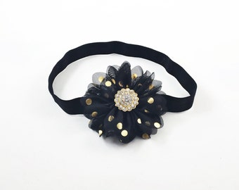 Black Headband, Black and Gold headband, black Flower Girl Headband, black Birthday Headband, gold headband, polka dot headband, Black Clip