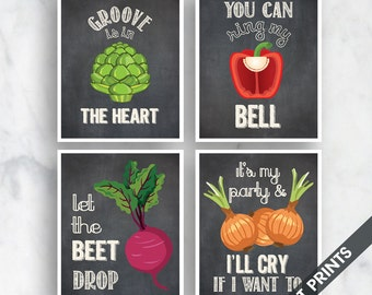 The Heart, Ring Bell, Beet Drop, I'll Cry (Funny Kitchen Song Series) Set of 4 Art Prints (Featured in Vintage Chalkboard) Kitchen Art
