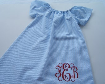 Girls Monogrammed Beach Dress, Blue Striped Seersucker Dress, Short Sleeve Dress, 3month-8years, Toddler, Baby, Summer Vacation, Coming Home
