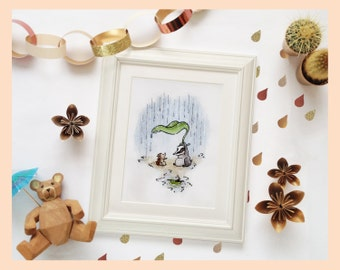 """Nursery art painting, Woodland animals in the rain. Badger & Hedgehog. 8""""X10"""" mounted print of a watercolour illustration"""