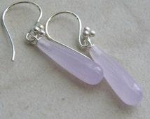 Lavender Dyed Quartzite Briolette Earrings,  Teardrop Earrings, Sterling Silver Hooks, Semi precious gemstones, Womens Earrings