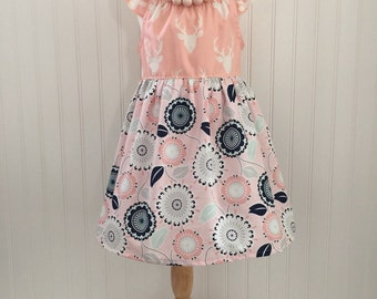 Girls flutter sleeve dress Girls peasant dress Girls size 4 dress Girls Summer dress Ready to ship