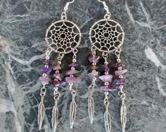 Amethyst Dream Catcher Dreamcatcher Earrings .925 Sterling Silver