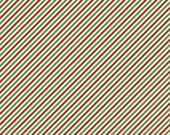 Christmas Fabric, Pixie Noel, Red and Green Diagonal Stripe, Riley Blake - Cotton Material- Quilting - Fat Quarter, Half, By The Yard
