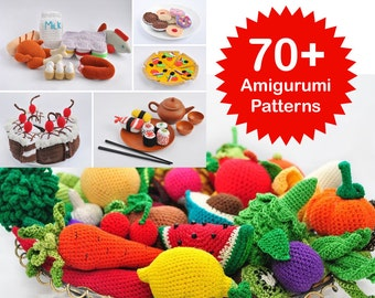 Amigurumi Pattern. 70+ Crochet Play Food Patterns. Crochet Toy Pattern. Crochet Fruit. Crochet Vegetables. Crochet Amigurumi Patterns
