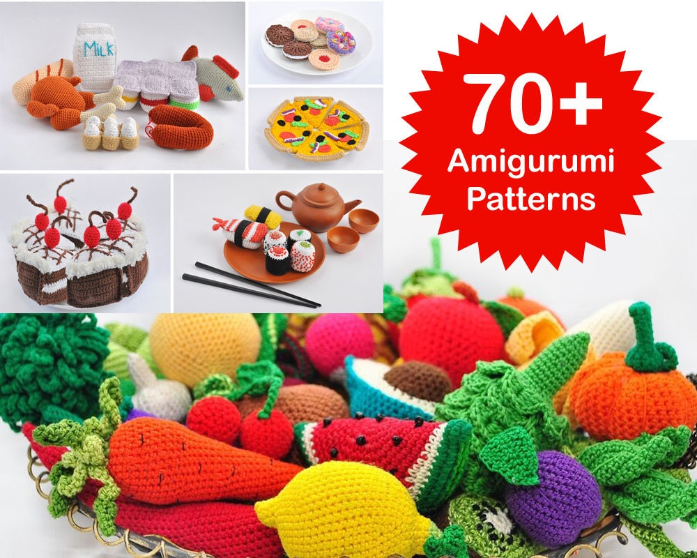 Amigurumi Pattern. 70 Crochet Play Food Patterns. Crochet Toy
