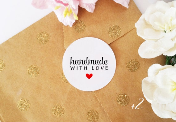 Handmade With Love Stickers Product Stickers Round Stickers