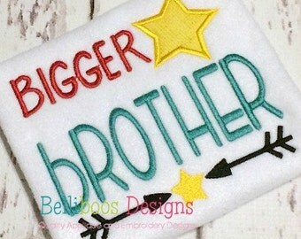 Bigger Brother Embroidery Saying - Bigger Brother Applique Design - Sibling Applique - Sibling Embroidery - Big Brother Applique