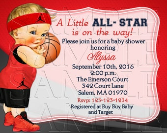 Red and Black Baby Shower Baby Invitation, Baby Shower, Announcements, Personalized, DIY Printable, Baby Boy,Digital Invite