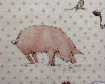 One Half Yard Piece of Fabric Material -  Farm Animals