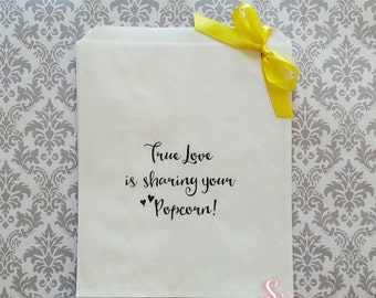 True Love is Sharing your Lollies, Candy, Popcorn White Paper Candy Buffet Lolly Bags x 50
