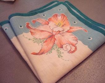 Vintage Dendrobium Orchid Hanky - Great Vintage Condition!!